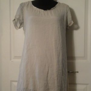 Nicole Italy sz M Gray Silk Tunic Mini Dress